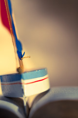 Sailing Trip Through Book / Background picture blurred with small detail of toy sailboat between the wavy pages of open book (copy space)