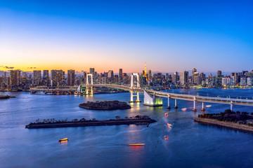 Foto auf AluDibond Tokio Rainbow Bridge und Tokyo Tower in Odaiba, Tokyo, Japan
