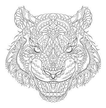 Patterned head of the roaring tiger