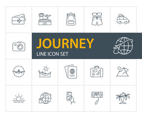 Journey line icon set. Airport, flight, ticket. Tourism concept. Can be used for topics like trip, travel, vacation