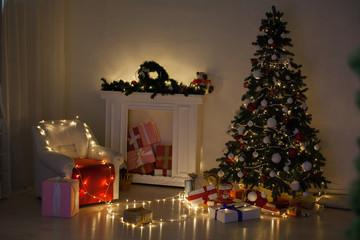 Holiday Christmas Interior home Christmas tree and gifts new year Garland