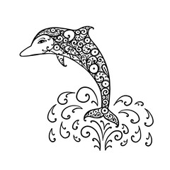 Dolphin ornate logo, sketch for your design