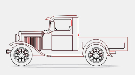 Early Pickup Truck Line Drawing