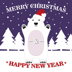 Cute polar bear in the snow against the backdrop of the night of Christmas trees