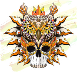 Patterned owl and skull on the grunge background.