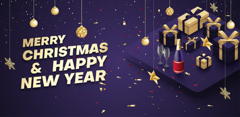 Merry Christmas and Happy New Year poster with golden 3d gifts and champagne.