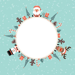 Round Frame Santa, Rudolph & Snowman Symbols Snow