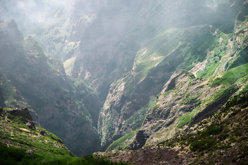 Scenic view of the gorge from Pico do Ariero on Portuguese island of Madeira