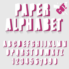 Paper cut alphabet, letters and numbers font typography.