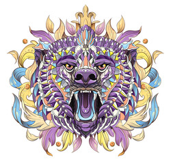 Patterned head of the roaring bear
