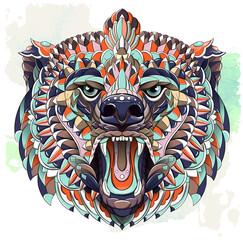 Patterned head of roaring bear