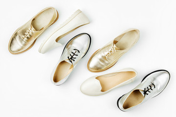 Stylish female spring or autumn shoes in various colors. Beauty and fashion concept. Flat lay, top view