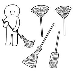 vector set of broom
