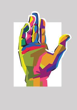 Colorful hand up. Social motivational vector flat illustration