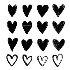 Grunge vector abstract hand - painted hearts. Set of black brush stroke and texture. Underline and border.