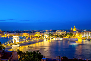 Hungary, Budapest, View from Buda to Pest with Chain bridge, blue hour
