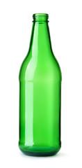 Front view of empty green beer bottle