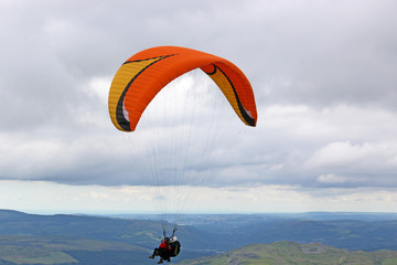 Wall Mural - Tandem paraglider in the Brecon Beacons