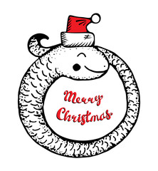 Merry Christmas vector illustration with cartoon coiled snake