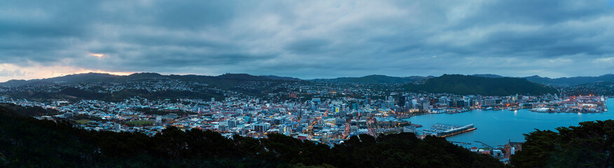 New Zealand, North Island, Wellington, Harbour, Panoramic view in the evening