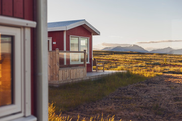 Iceland, Reykholt, typical houses and mountains