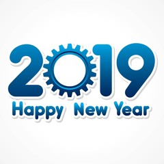 Happy New Year 2019 with creative design stock vector