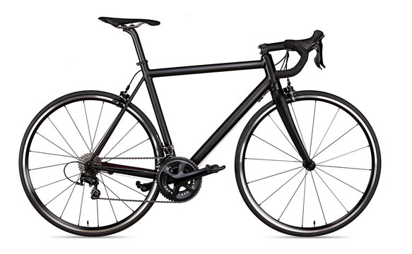 black racing sport road racer bike bicycle racer isolated