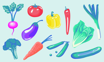 Set Vegetales color vector