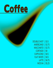 Conceptual background with blurred shape for a coffee menu. Vector graphic template