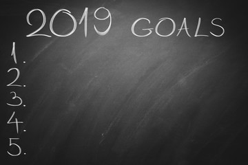 2019 neq year goals on green board. Business Chalkboard