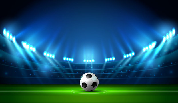 soccer football stadium spotlight and scoreboard
