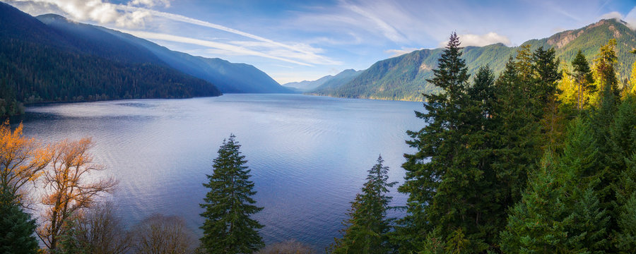 Aerial View of Lake Crescent in the Olympic Peninsula. Lake Crescent is a deep lake located entirely within Olympic National Park in Washington, United States. A drone was used for a unique view.