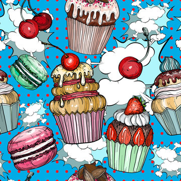 Seamless pattern with Cakes and cupcakes baked chocolate dessert, bakery colorful pop art
