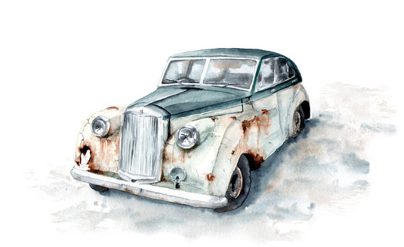 watercolor drawing of a rusty old austin princess