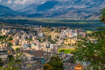 View of Old Town and modern buildings of Gjirokaster from the castle, UNESCO World Heritage Site, Albania