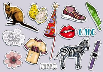 Fashion summer travel colorful items sticker set.