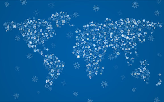 Abstract world map of snowflakes, christmas background