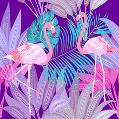Seamless pattern of flamingo, leaves monstera. Tropical leaves of palm tree and flowers.