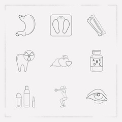 Set of anatomical icons line style symbols with fitness, vitamins, weight scale and other icons for your web mobile app logo design.
