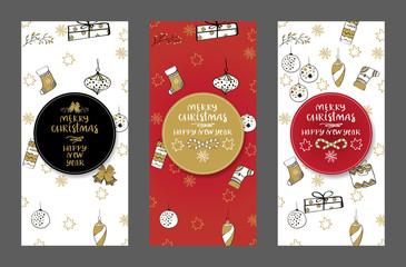 Merry Christmas creative handdrown card with Christmas toys.