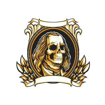 Skull face of Benjamin Franklin design, vector emblem illustration