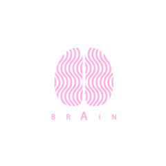 Logotype with brain and waves, vector illustration