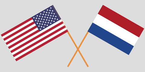 Netherlands and USA. The Netherlandish and American flags. Official proportion. Correct colors. Vector