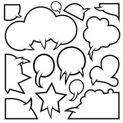Cartoon empty speech comic clouds, vector illustration set