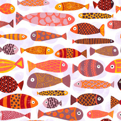 Tropical colorful exotic fish swarm seamless pattern. School of fish background. Kids beach vacation underwater themed design for kids fabric, swimwear, room decor, school, paper, clothes, packaging