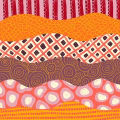 Abstract orange, pink, red, purple collage background. Hand drawn wavy illustration. Coordinate for my tropical school of fish pattern. Use for home decor, paper, invitation, web banner, packaging.