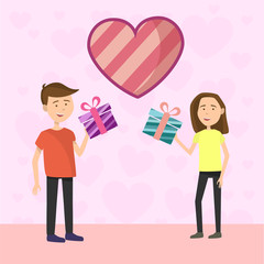 Flat Couple makes gift to each other on Valentines day on pink background