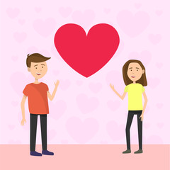 Flat Couple on Valentines day say hello to each other on pink background