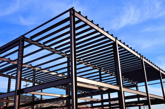 Steel framework of commercial building under  construction.