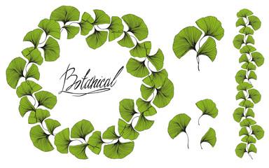 Decorative wreath of green leaves. Leaf frame. Vector illustration.